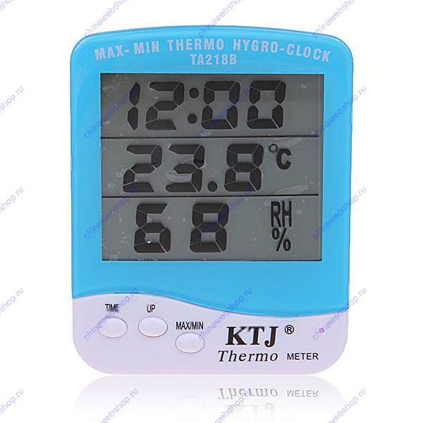 Термометр с гигрометром и часами KTJ-TA218B,Астана