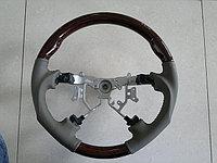 """Руль Toyota LandCruiser 100 2003-07г (Бежевая кожа, темное дерево """"Спорт дизайн"""")"""