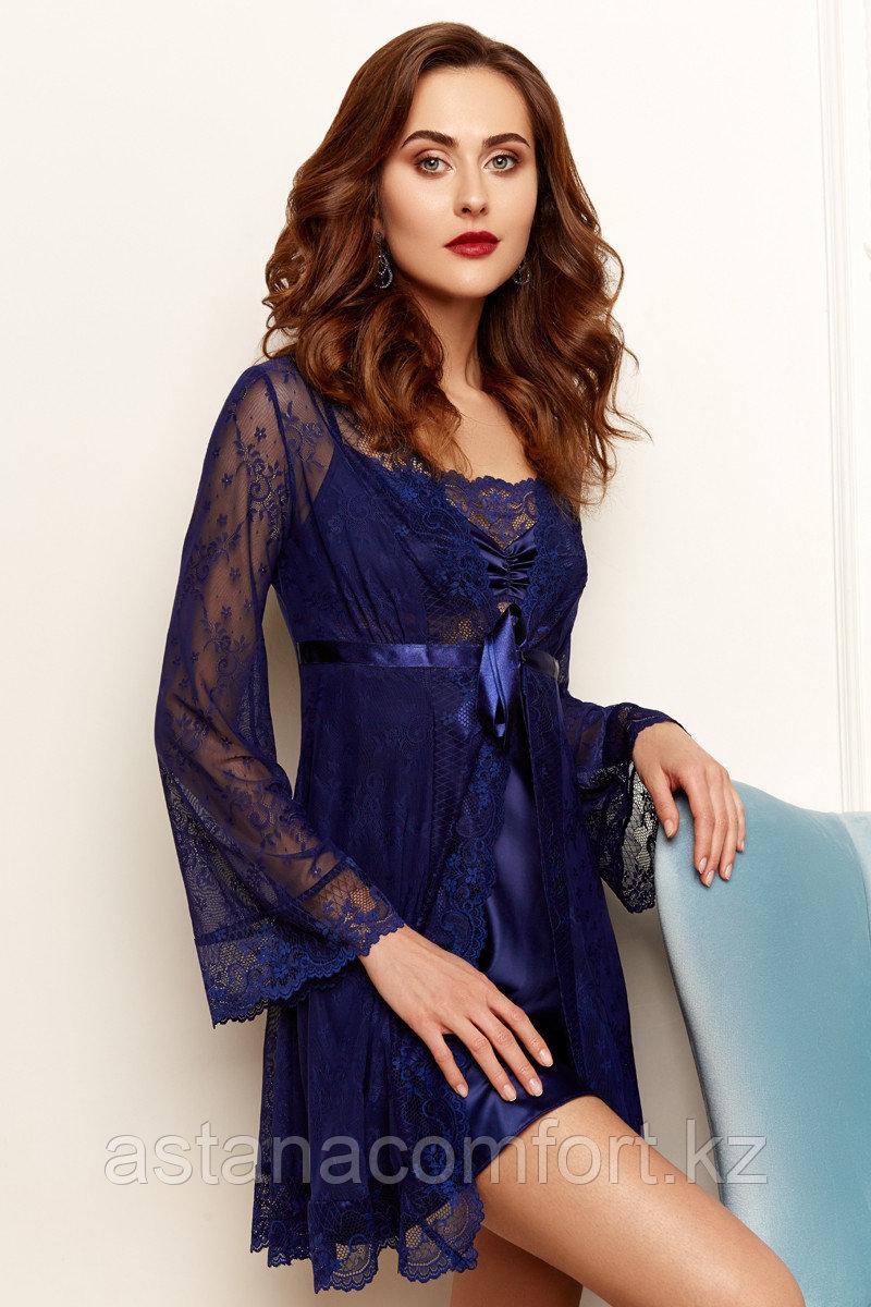Женский комплект: атласная сорочка + кружевной халатик