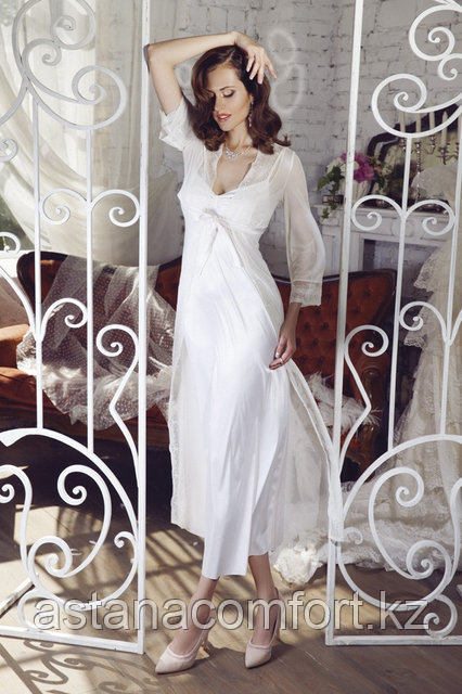 Подарок для женщины - Длинный кружевной женский халат + сорочка