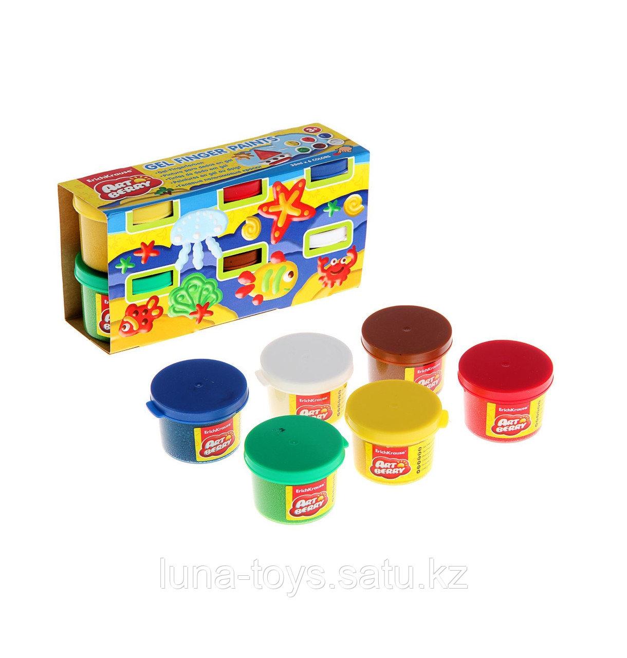 Краски пальчиковые 6 цветов по 35мл Artberry, картонный рукав, EK 34818