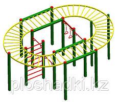 Игровой комплекс Гнёздошка, шведская стенка, кольца, рукоход полукруглый, турник