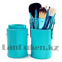 Набор кистей для макияжа MAC  в тубусе бирюзовый (12 штук, чехол)