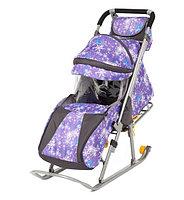 Санки - коляска Галактика Детям Снежинки на фиолетовом
