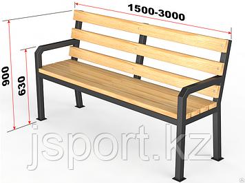 """Уличная скамейка со спинкой. """"Дача"""" 1,5м"""
