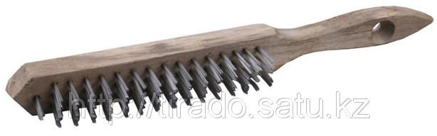 Щетка ТЕВТОН стальная с деревянной рукояткой, 3 ряда