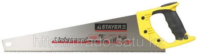 Ножовка STAYER «UNIVERSAL» по дереву, двухкомпонентная рукоятка, закаленный
