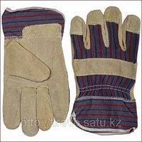 Перчатки STAYER «MASTER» рабочие комбинированные кожаные из спилка с тиснением, XL