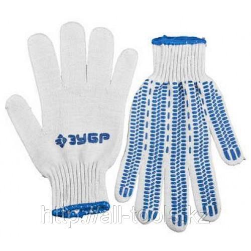 Перчатки ЗУБР «ЭКСПЕРТ-ПРОТЕКТОР» трикотажные, 10 класс, х/б, с защитой от скольжения,