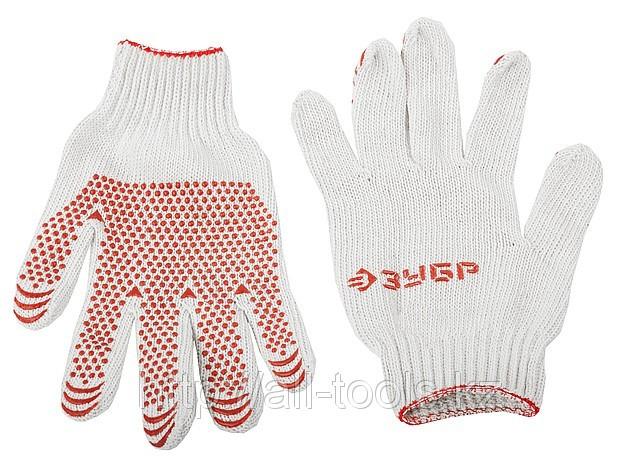 Перчатки ЗУБР «МAСTEP» трикотажные, 7 класс, х/б, с защитой от скольжения, L-XL, 10пар