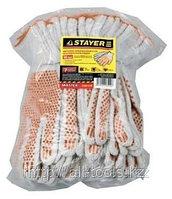 Перчатки STAYER «МASTER» трикотажные, 7 класс, х/б, с защитой от скольжения, L-XL, 10пар