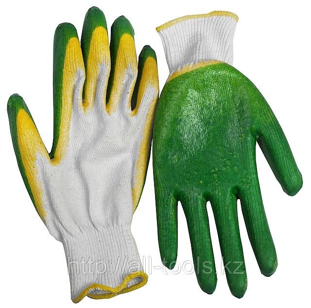 Перчатки ЗУБР «МAСTEP» трикотажные, 10 класс, х/б, двойная обливная ладонь из латекса, L-XL