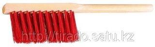 Щетка-сметка, искусственная щетина, трехрядная, деревянный корпус, 320мм