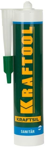 Герметик силиконовый KRAFTOOL прозрачный, санитарный, для помещений с повышенной влажностью, 300мл