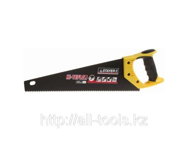 """Ножовка STAYER """"HI-TEFLON"""" по дереву, 2-комп. пласт. ручка, тефлон.покрыт, закаленный универс. зуб, 7 TPI"""