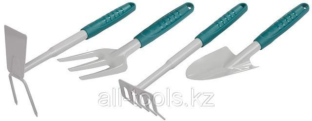 Набор RACO садовый: совок 4207-53481, мотыжка -53486, грабли веерные -53492, вилка посадочная -53496