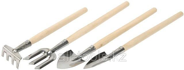 Набор ЗУБР Инструменты из нержавеющей стали для ухода за комнатными растениями, 4шт