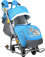 Детские санки-коляска Ника Детям 7-2 люкс с выдвижными колесами, синий.