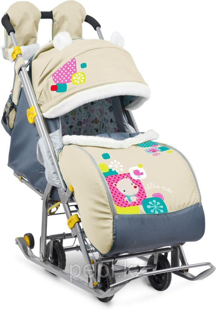 Детские санки-коляска Ника Детям 7-2 люкс с выдвижными колесами, бежевый.