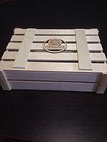Упаковка деревянная для мужчины на праздник, короб с крышкой 33*24*14см