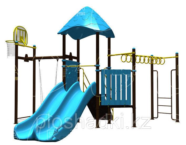 Детский городок, баскетбольный щит, домик с крышей, рукоход, двойная горка, лестница