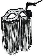 Венецианская маска Коломбина с бахромой и перьями (черно-белая)
