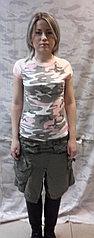 Женская футболка, розовая, камуфлированная