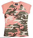 Женская футболка, розовая, камуфлированная, фото 2