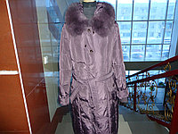 Женское стеганое пальто ,наполнитель холофан ,мех натуральный песец
