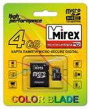 MicroSD с адаптером Mirex 4Gb