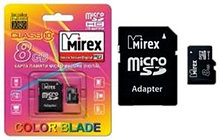 MicroSD с адаптером Mirex 4Gb (class 10)