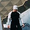 Облегающий реглан Doyoueven для занятий спортом черный с серыми рукавами