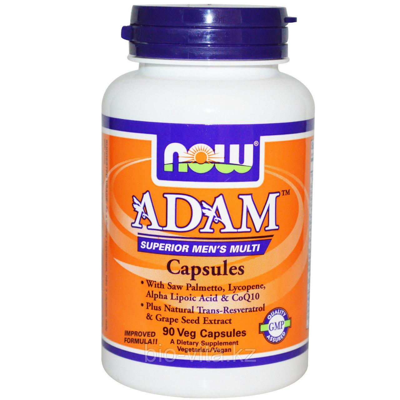 Now Foods, Adam мультивитамины для мужчин наивысшего качества, 90 капсул по 3 шт.в день.