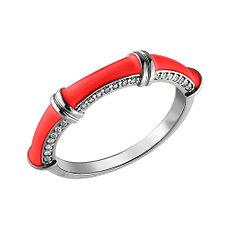 Кольцо с эмалью и фианитом, размер 17,5