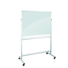 Доска стеклянная двухсторонняя маркерная немагнитная мобильная черно-белая 120*90см