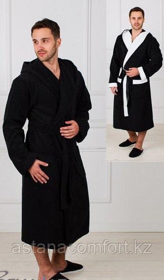 Халат банный махровый мужской с капюшоном. Россия.