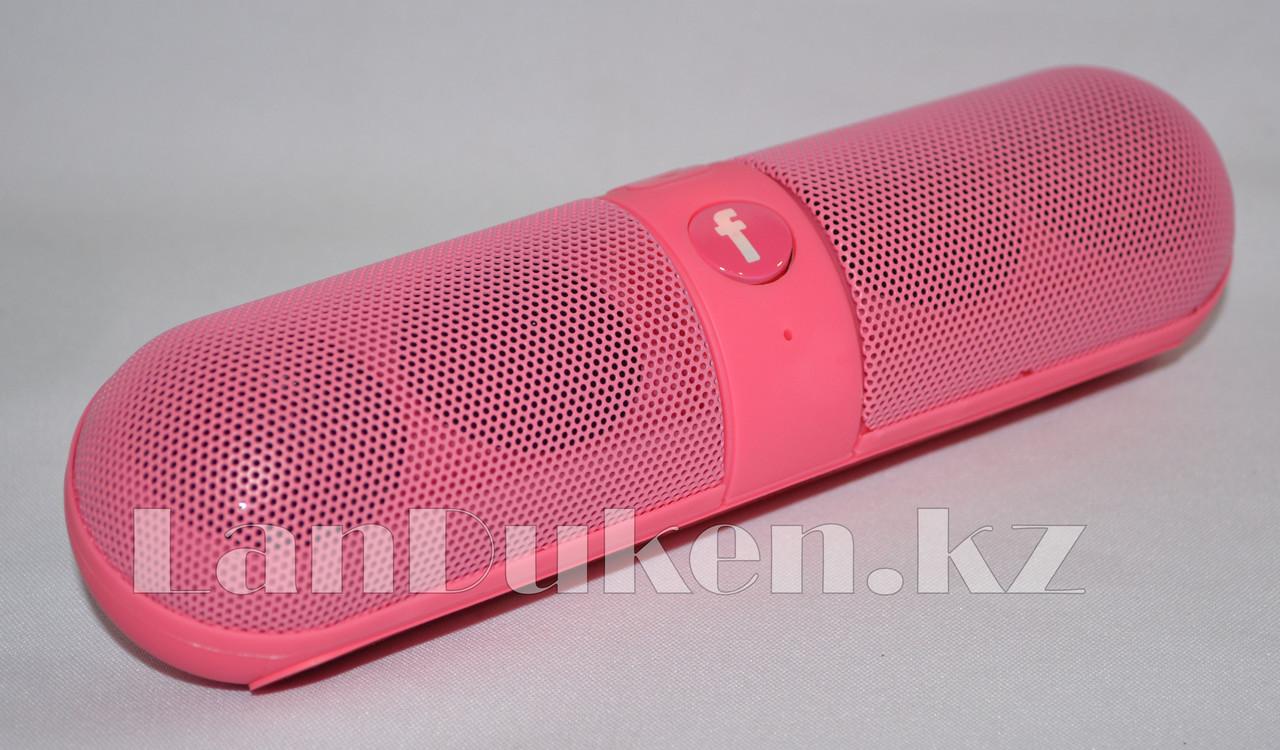Колонка беспроводная стерео bluetooth-спикер для смартфонов и портативных пк (розовая) - фото 2