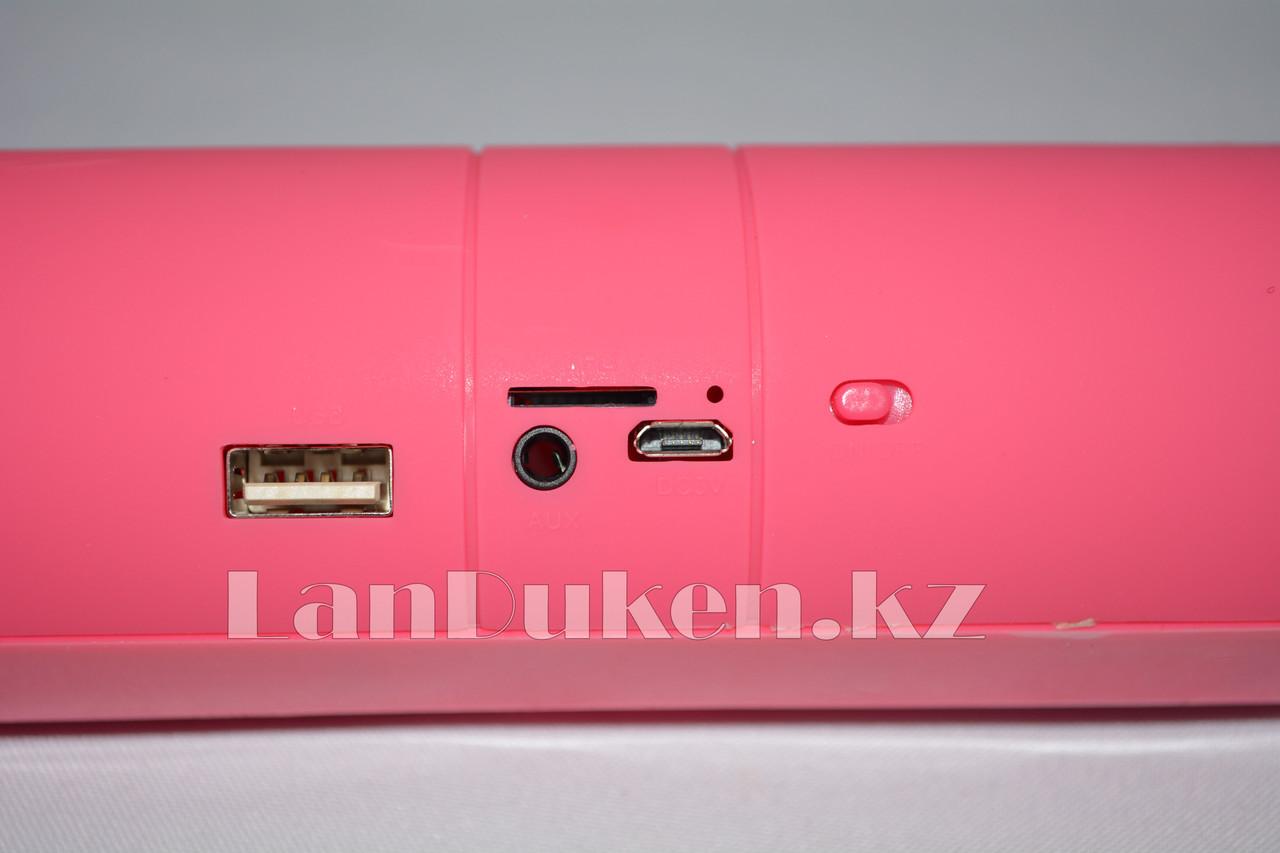 Колонка беспроводная стерео bluetooth-спикер для смартфонов и портативных пк (розовая) - фото 3