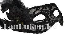 Венецианская маска, карнавальная маска, маска кружевная с перьями черная