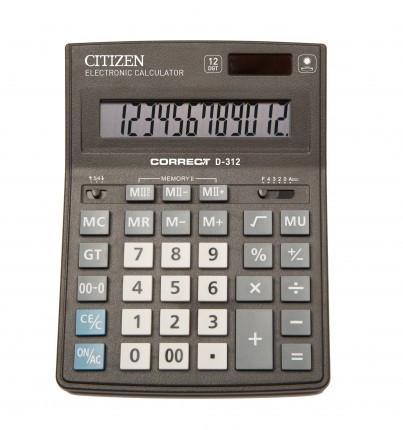 Калькулятор 12 разрядов, 15.5x20см, черный Citizen Correct
