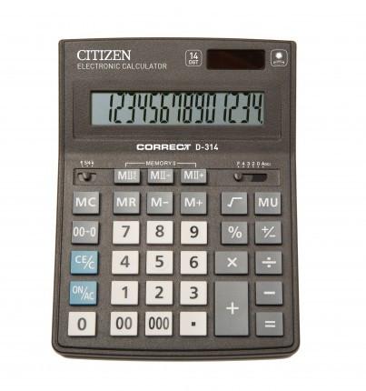 Калькулятор 14 разрядов, 15.5x20см, черный Citizen Correct