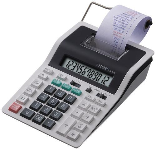 Калькулятор с печатью 12 разрядов, лента 57мм, печать 2 цвета, серый/черный Citizen