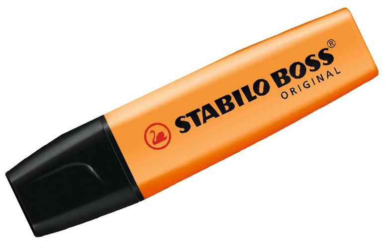 Маркер текстовой, 2-5мм, скош.наконечник, оранжевый Stabilo Boss