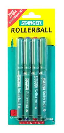 Ручка роллерная, 0.7мм, 4цвета, набор Stanger