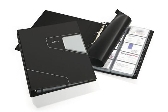 Визитница на 400 визиток, 255x315мм, разделитель A-Z, темно-серая Durable