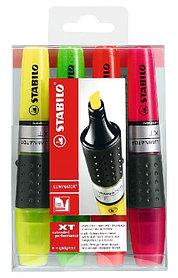 Маркер текстовой, 2-5мм, скош.наконечник, набор 4 цвета Stabilo Luminator
