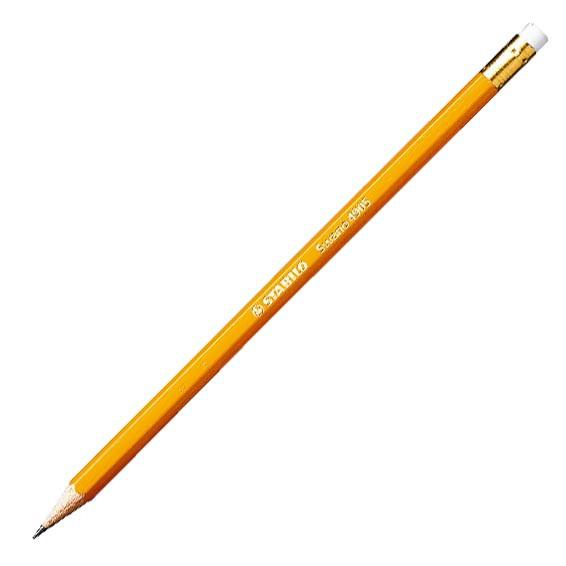 Карандаш простой HB, с ластиком, желтый корпус Stabilo