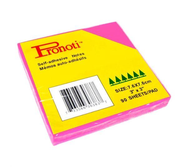 Бумага для заметок 75x75мм, 90л, самоклеющаяся, неоновая розовая Pronoti
