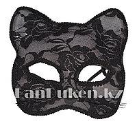 Венецианская маска, маска кружевная лисенок (черная)