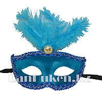 Венецианская маска Коломбина с перьями голубая (бархатная)